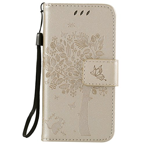 Snow Color iPhone 5S/SE/5 Hülle, Premium Leder Tasche Flip Wallet Case [Standfunktion] [Kartenfächern] PU-Leder Schutzhülle Brieftasche Handyhülle für Apple iPhone SE 5S 5 - COKT010011 Gold