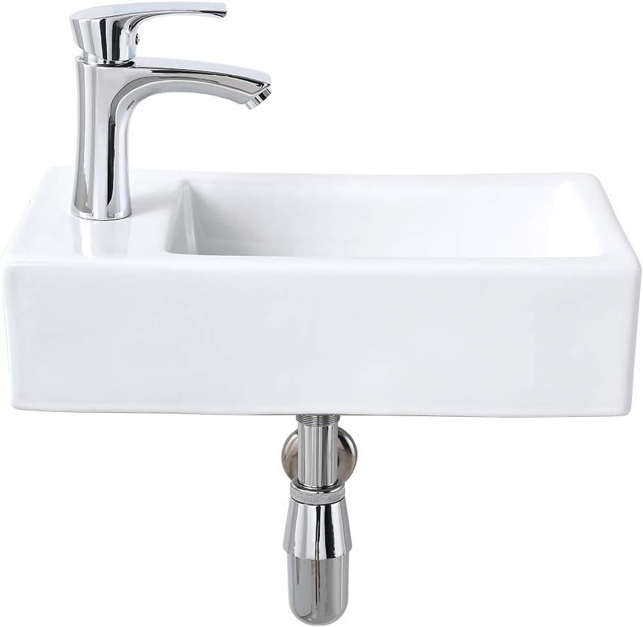 Buy Bokaiya Small Corner Wall Mount Bathroom Vessel Sink Rectangle White Porcelain Ceramic Small Space Cloakroom Mini Vanity Bathroom Sink And Faucet Combo Left Hand Hellip Online In Vietnam B07v7c76dy