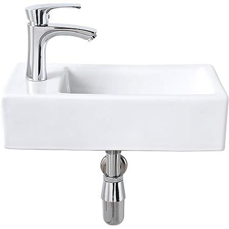Small Wall Mount Bathroom Sink Ceramic Porcelain Toilet Bowl Lavatory Washroo