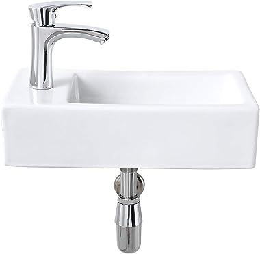 Bokaiya Small Corner Wall Mount Bathroom Vessel Sink Rectangle White Porcelain Ceramic Small Space Cloakroom Mini Vanity Bath