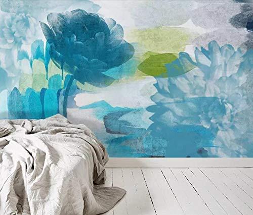 3D vliesbehang fotobehang abstracte blauwe bloem olieverfschilderij wandschilderij behang wandschilderij behang Europese bloemenkamer slaapkamer wanddecoratie fotobehang 200*140 200 x 140 cm.