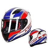 Dgtyui Casco moto integrale Casco ABS casque moto capacete casco da corsa su strada fibbia facile e veloce, paralume di ventilazione - rosso blu1 X XXL