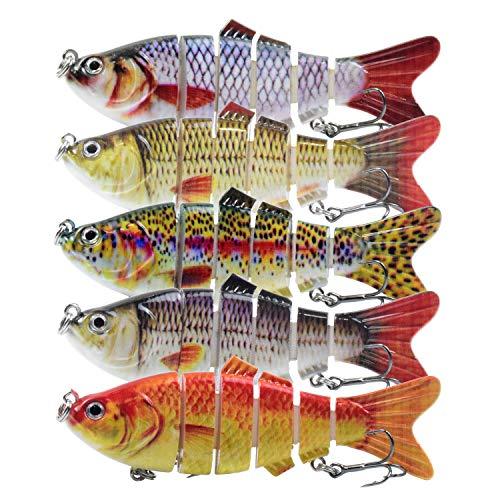Lixada Fishing Lure,8-12inch Lifelike Multi-jointed 8/13-segement Pike Muskie Swimbait Crankbait Hard Bait Fish Treble Hook Tackle