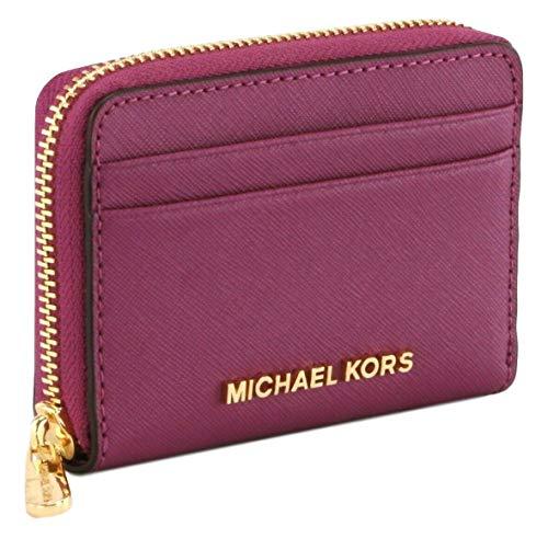 Michael Kors Portemonnaie Kartenetui Geldbörse Geldbörse Reißverschluss rund klein Kieselleder Violett granatapfel S