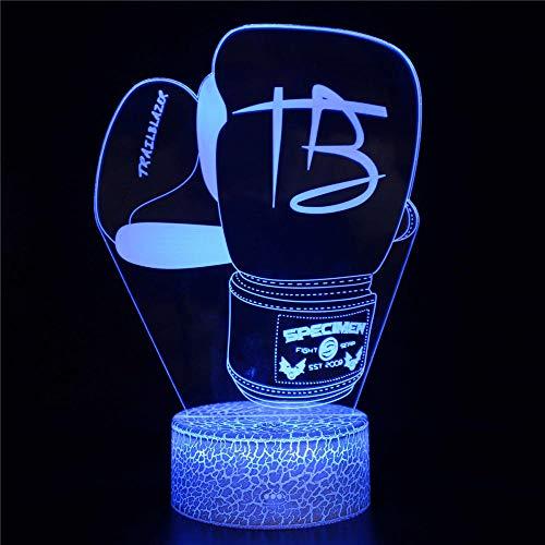 3D llevó la luz de la noche 3D lámpara de ilusión óptica guante de boxeo, cargador USB, juguetes lindos regalos ideas cumpleaños vacaciones Navidad para bebé