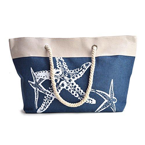 Strandtasche - große Sommer-Tragetasche mit Reißverschluss und Schultertasche für Damen