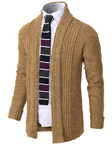 H2H Mens Casual Slim Fit Open Front Cardigan Lightweight Long Sleeve Camel US M/Asia L (CMOCAL046)