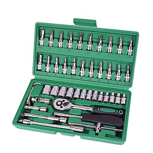 Gereedschapsset voor auto reparatieset 46 stuks 1/4 inch reparatieset met gereedschap voor momentsleutels Combo Tools Kit auto reparatieset met gereedschap