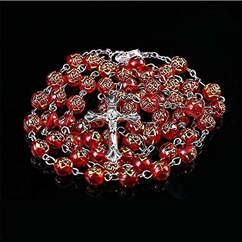 LBBYMX Co.,ltd Necklace 8mm Round Rose Pearl Necklace Rosary Coeur Pendant Jesus in The Center of The Virgin Catholic