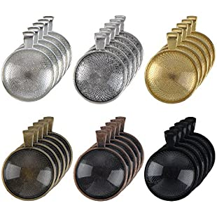 30 Pieces 6 Colors Pendant Trays Round Bezel with 30 Pieces Glass Round Clear Dome Tiles, 60 Pieces Totally:Btc4you