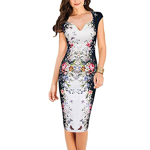 Oxiuly Women's Print Formal Work Sheath Cotton Party Evening Cocktail Dress X160 (XL, White)