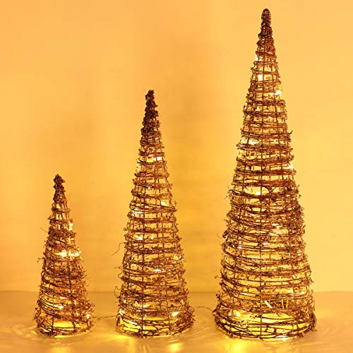 Lewondr Lámpara de Árbol de Cono de Navidad, Luces Led Decorativas de Rota Funciona con 3 Pilas, Ideal para Navidad, Fiesta, Boda, Decoración del Hogar, Disposición Romántica, Natural