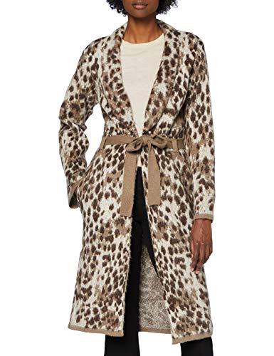 PIECES Damen PCSKY LS Long Knit Coatigan Mantel, Whitecap Gray/Pattern:Leo Pattern, XL