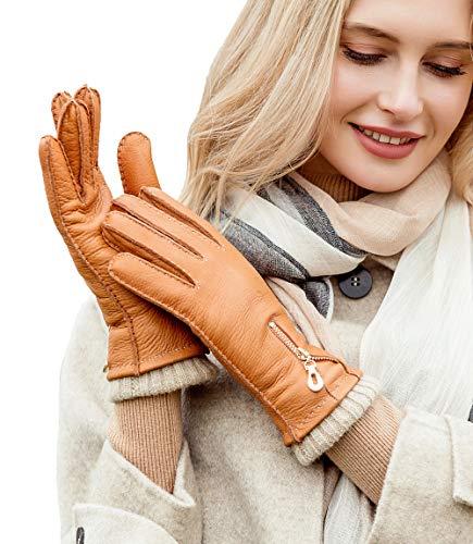 YISEVEN Damen Winter Lederhandschuhe aus Hischleder mit Wolle Warm Gefüttert Elegant Leder Autofahrer Handschuhe Weihnachtsgeschenke, Cognac XXL/8.5
