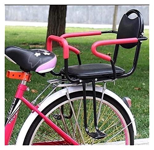 GYYlucky Asiento trasero de seguridad de la bicicleta para niños 2-8 años portabebés asiento trasero apoyabrazos pedal cinturón acolchado bicicleta adulto