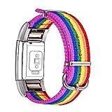Correa para Fitbit Charge 2, Bandmax LGBTI Banda de Nailon Arco Iris Gay Orgullo Reemplazo Wristband Pulseras de Repuesto[Longitud Ajustable para Muñeca(6.8'-9.2') 170-235mm]