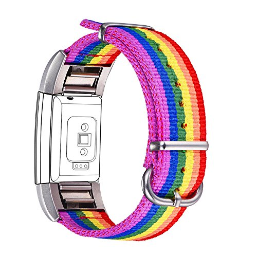 "bandmax Correa para Fitbit Charge 2, LGBTI Banda de Nailon Arco Iris Gay Orgullo Reemplazo Wristband Pulseras de Repuesto[Longitud Ajustable para Muñeca(6.8""-9.2"") 170-235mm]"