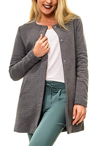 ONLY Damen Übergangsmantel Kurzmantel Leichte Jacke Chic Business Coat (L, Dark Grey Melange)