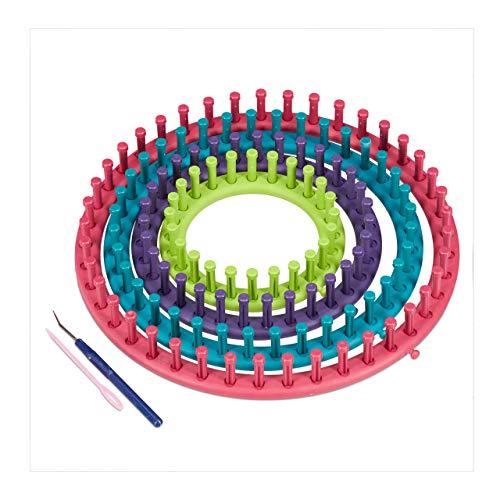 Relaxdays Strickring Set, 4 Strickrahmen, mit Anleitung, Strickset für Anfänger, Ø 28cm, 24cm, 19cm, 14cm, mehrfarbig, 1 Stück