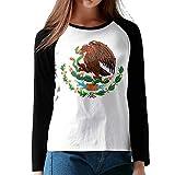 Mexique-Drapeau-l'aigle-et-Serpent Tee Shirt Sport Femme Fille Manches Longues Raglan(XXL,Noir)