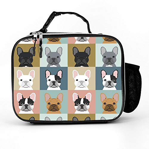 NiYoung Reusable Leather Lunch Bag - French Bulldog Pattern - Hot&Cold Lunch Box for Women Men Work Picnic or Travel