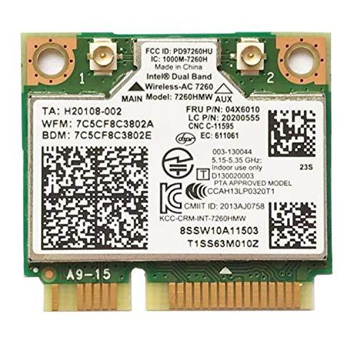 Timagebreze Tarjeta InaláMbrica Incorporada para Computadora PortáTil para 7260HMW 7260AC 867M Tarjeta InaláMbrica 5G de Doble Banda BT4.0 para 04X6090 04X6010