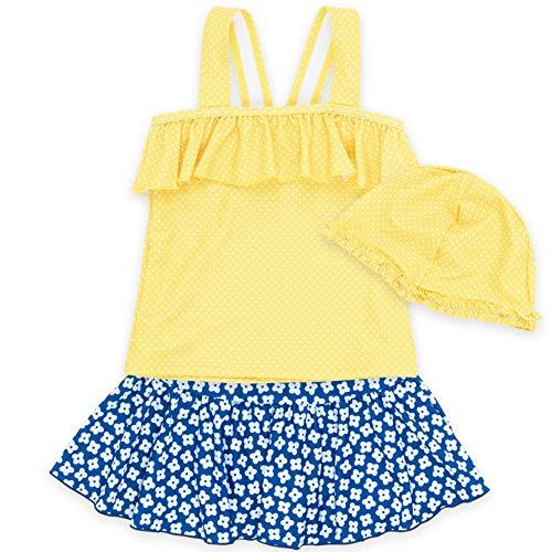 子供水着 女の子 キッズ 水着 sandia サンディア 小花柄セパレート キャップ付き110yel