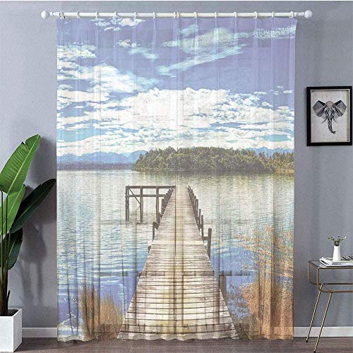 Sheer Window Curtain Panels - Beach, Country Lake Tree Pier Cloudy Summer Sky Water Reflection Rural, Blue Orange Green Sheer Window Panel (2-Pack, 100 Wide x 84 inch Long)