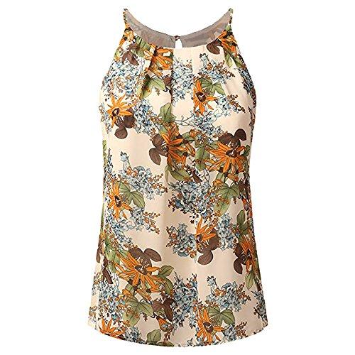 Camisetas Tirantes Mujer Verano Camisetas Mujeres Tallas Grande Blusa Cuello Redond Cami Tank Tops BáSica Tops Mujer Vestir Ropa De Mujer Verano 2019 Buyo(Beige,M)