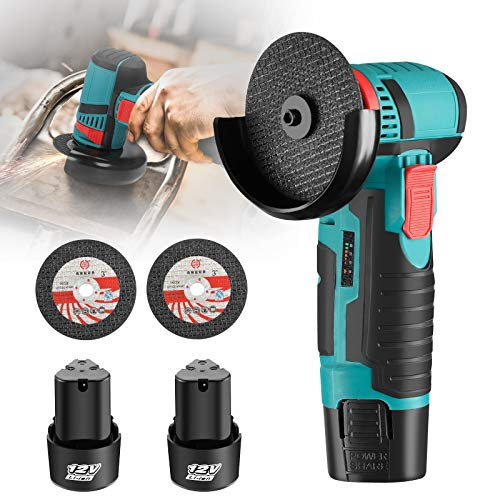 Angle Grinder 12V Mini Cordless Angle Grinder 500W Electric Angle Grinder with Two Batteries for Metal and Wood