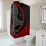 Sweet Luck Cortina de ducha con diseño de cuervo vikingo, antimoho, resistente...