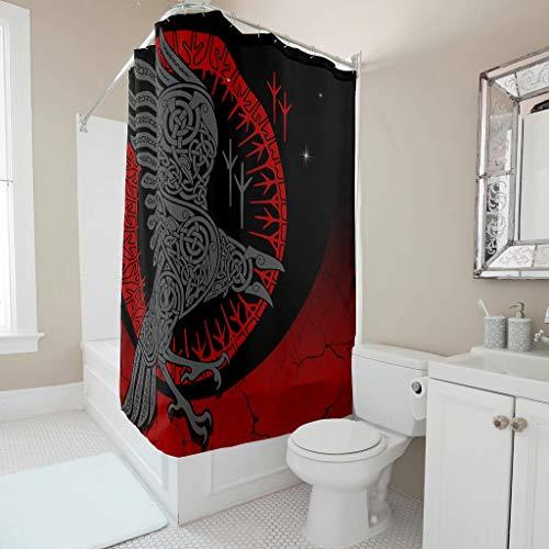 Tentenentent Cortina de ducha vikinga nórdica, fresca, estampada, resistente al óxido, juego de cortinas con ganchos, cultura primaria retro para duchas, color blanco 6 120 x 200 cm