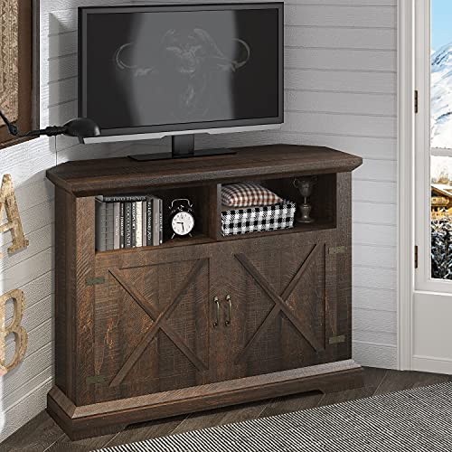 HOOMIC 44'' Modern Farmhouse Corner TV Stand for TVs Up to 50 Inches, TV Console Table with Storage Cabinets, Buffet Cabinet with 2 Doors & 2 Shelves for Living Room, Corner Universal, Espresso