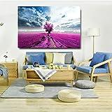 Aaubsk Puzzle 1000 Piezas Gran Cielo Azul árbol púrpura Flor Paisaje Pintura Puzzle 1000 Piezas paisajes Rompecabezas de Juguete de descompresión Intelectual Rompecabezas de juguete50x75cm(20x30inch)