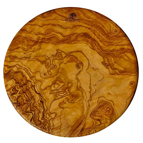 (D) Berard Round French Olive Wood Cutting Board, Vintage Hand Made Boards