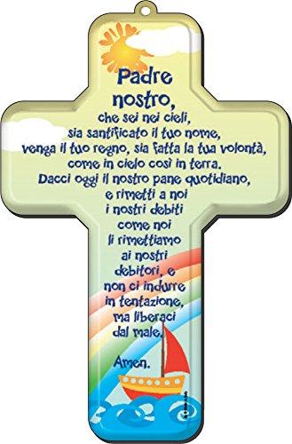 Ferrari & Arrighetti Crocifisso per Bambini con la Preghiera del Padre Nostro in Italiano - 12 x 18 cm