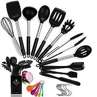 Photo Gallery popolic utensili da cucina in silicone da 14pcs, resistente al calore antiaderenti utensili da cucina set, maniglia in acciaio inossidabile spatola da cucina con 10pcs allacciare 1 set di misurini