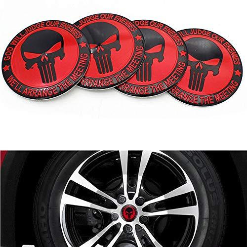 Dsycar - Lot de 4 capuchons de moyeu de roue de voiture - Motif tête de mort