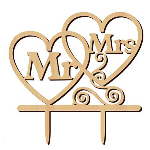 ULTNICE - Decorazione per torte di matrimonio Mr Mrs con cuori, forma decorativa per torte in legno per matrimonio anniversario