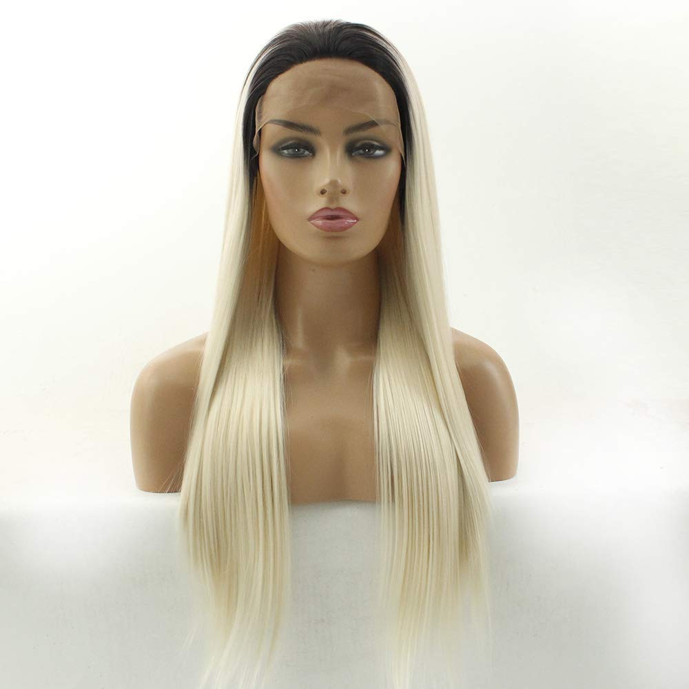 [Alternative dealer] Long Straight Blonde Synthetic Front Wig service Lace Ombre