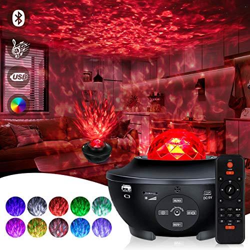 Proiettore Cielo Stellato Lampada,Lampada Proiettore Stelle con 10 colori Galaxy Projector 360, con Telecomando, Timer, Altoparlante per Bambini Adulti Regalo Decorazioni