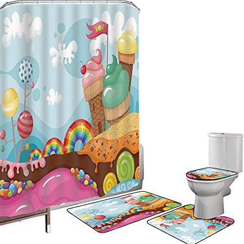 Duschvorhang Set Badezimmerzubehör Teppich Eis Dekor Badematte Contour Teppich Teppichbezug Nachtisch-Land mit der Regenbogen-Süßigkeits-Lutscher-Baum-Kuchen-Gebirgskarikatur dekorativ,Mehrfarben Ruts