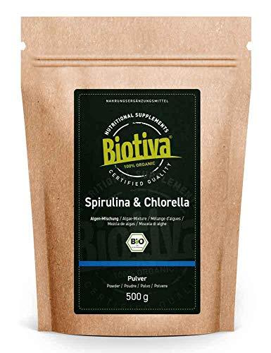 Chlorella und Spirulina Pulver Bio 500g - Algen - vegan - Chlorella Vulgaris - Abgefüllt und kontrolliert in Deutschland (DE-ÖKO-005)