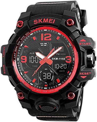 Herren Sportuhren, Digital Analoguhren Sport Herren Militäruhren EL Light Stoppuhr Uhren 50M wasserdichte Digitaluhr für Herren Teens Rot