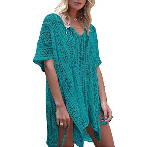 OVERDOSE Frauen Baden Beach Cover Up Kleid Bikini Badeanzug Bademode Crochet Smock(Green,Freie Größe