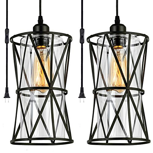 Capslpad 2X Plug in Pendant Lights,Black Farmhouse Pendant...