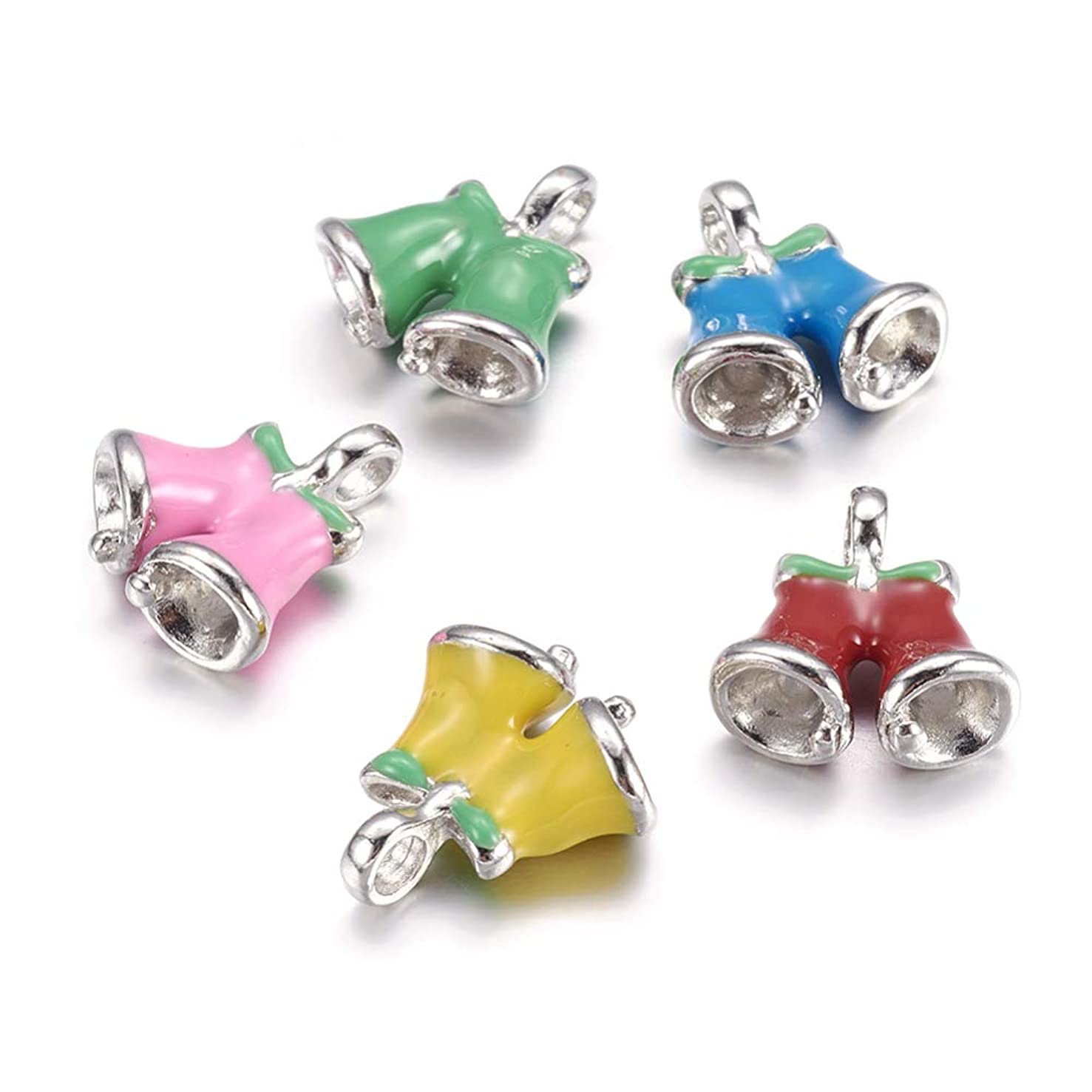 Craftdady 10Pcs Mixed Color Christmas Bell Alloy Enamel Charms 19x17mm DIY Jewelry Necklace Earring Bracelet Christmas Gifts Decoration Craft Making Pendants with 2.5mm Hole