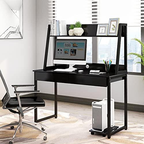 Escritorio de madera MDF y acero, mesa de trabajo para oficina, hogar, mesa de ordenador con estantes, 2 cajones, estantes para libros, fotos (negro)