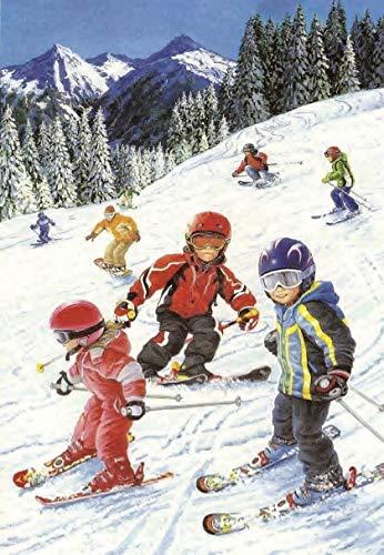 ADHW Rompecabezas de 1000 Piezas, Rompecabezas de Madera, esquí Se aceptan niños, decoración casera, Regalo Personalizado, positividad y Relajante
