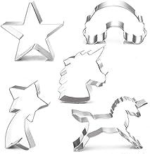 BakingWorld Unicorn Cookie Cutters Set - 5 Pcs - Unicorn,Unicorn Head,Rainbow,Shooting Star and Star,Stainless Steel Cooki...